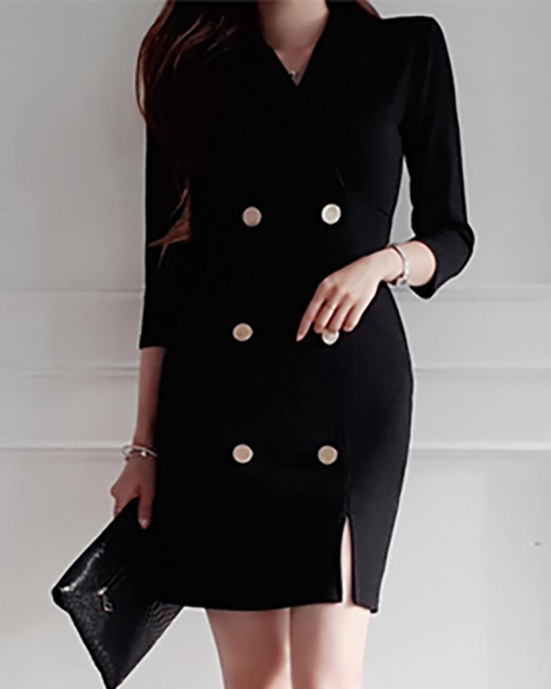 Solid Double Breasted Slit Blazer Dress, Black