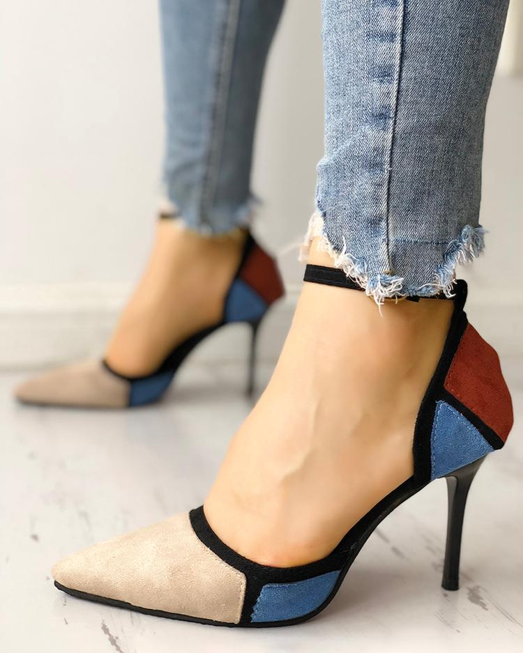 Colorblock Suede Pointed Toe Buckled Thin Heels