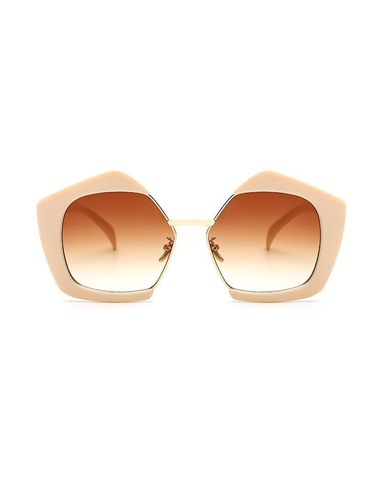 Oversized Frame Lens Sunglasses - Beige