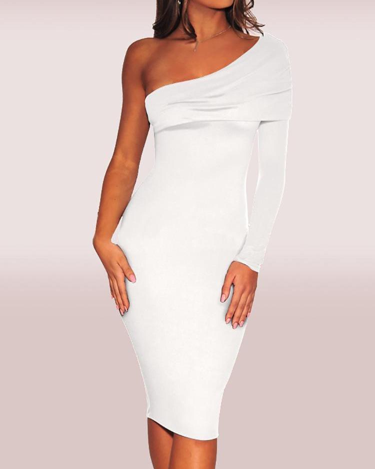 Fold-Over One Shoulder Slinky Dress, White