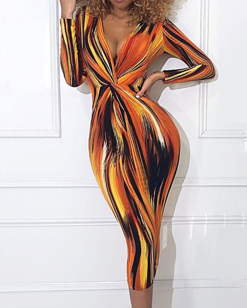 Abstract Print Twisted Front Bodycon Dress