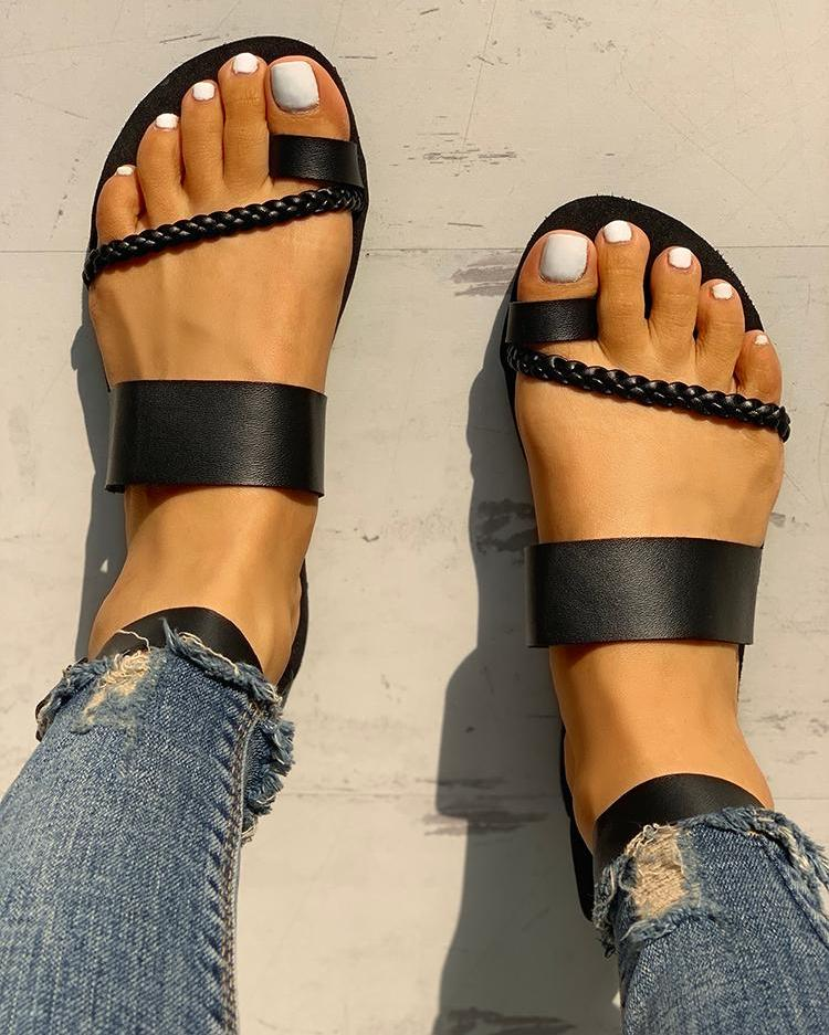 ivrose / Toe Ring Braided Design Sandals