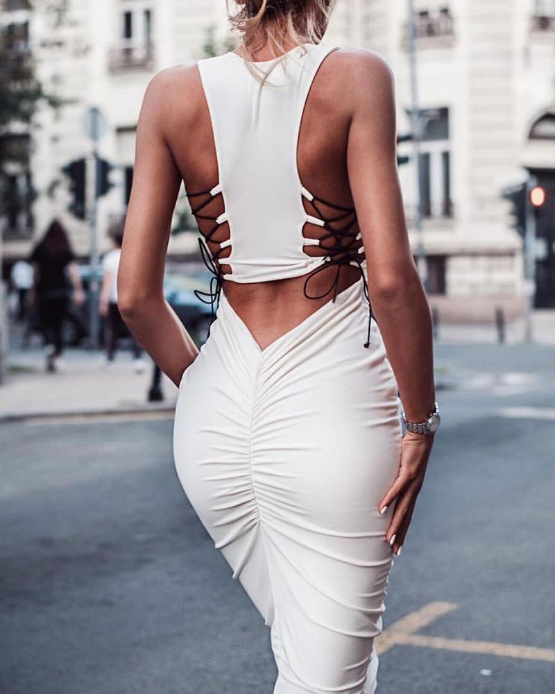 Solid Lace Up Detail Bodycon Dress фото