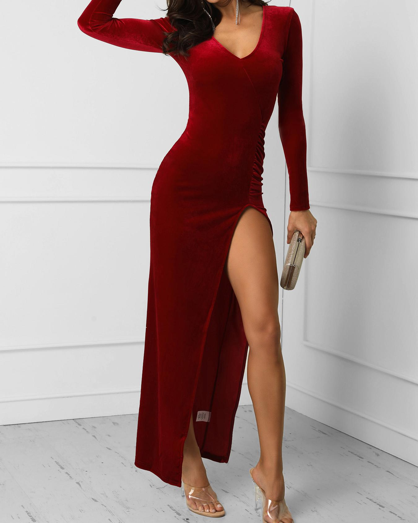 V-Neck Long Sleeve Thigh Slit Dress