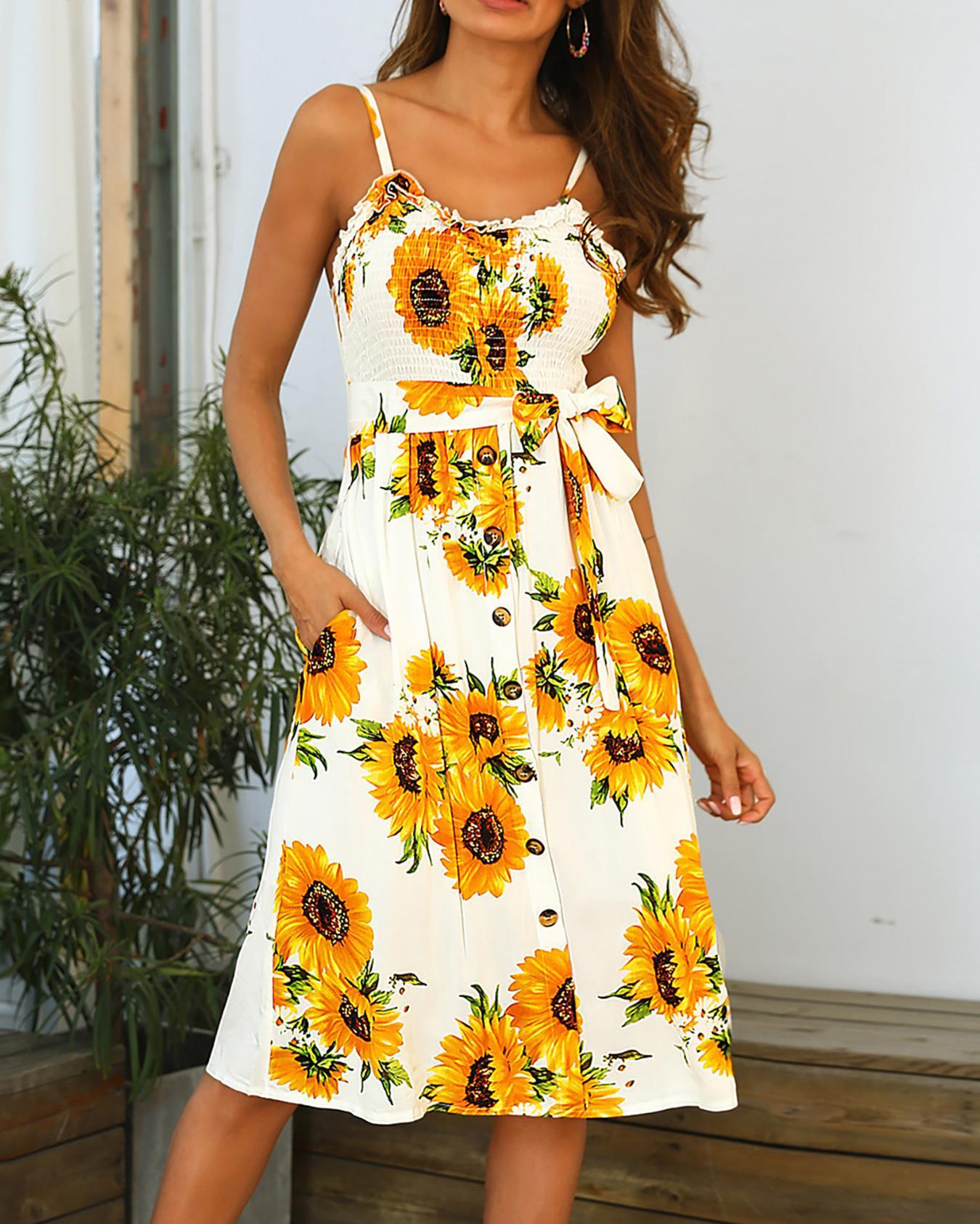 Sunflower Print Shirring Belted Dress, Yellow