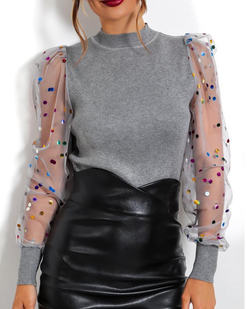 boutiquefeel / Blusa de malla con manga hinchada y lentejuelas