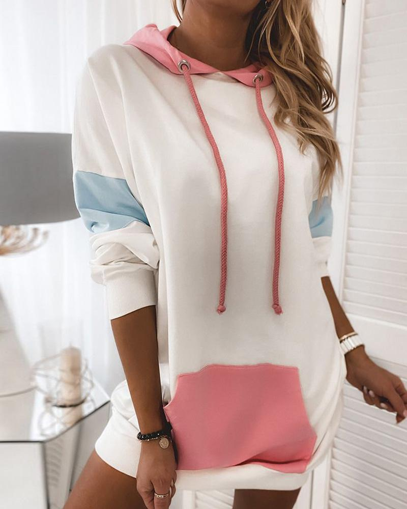 chicme / Long Sleeve Hooded Colorblock Dress