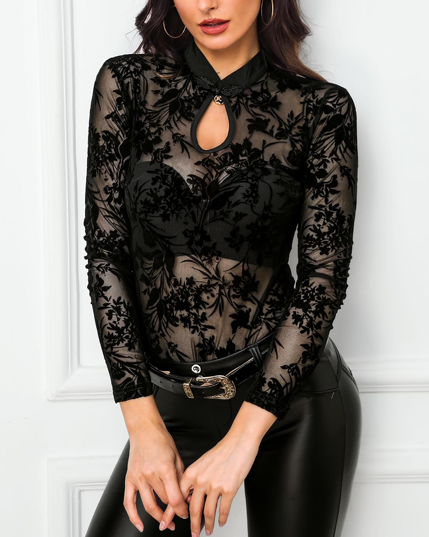 Sheer Mesh Embroidery See Through Blouse фото