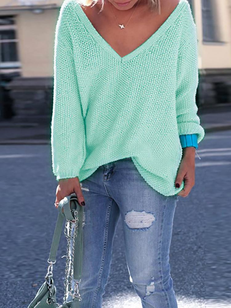 V Neck Knitted Casual Pullover Sweater