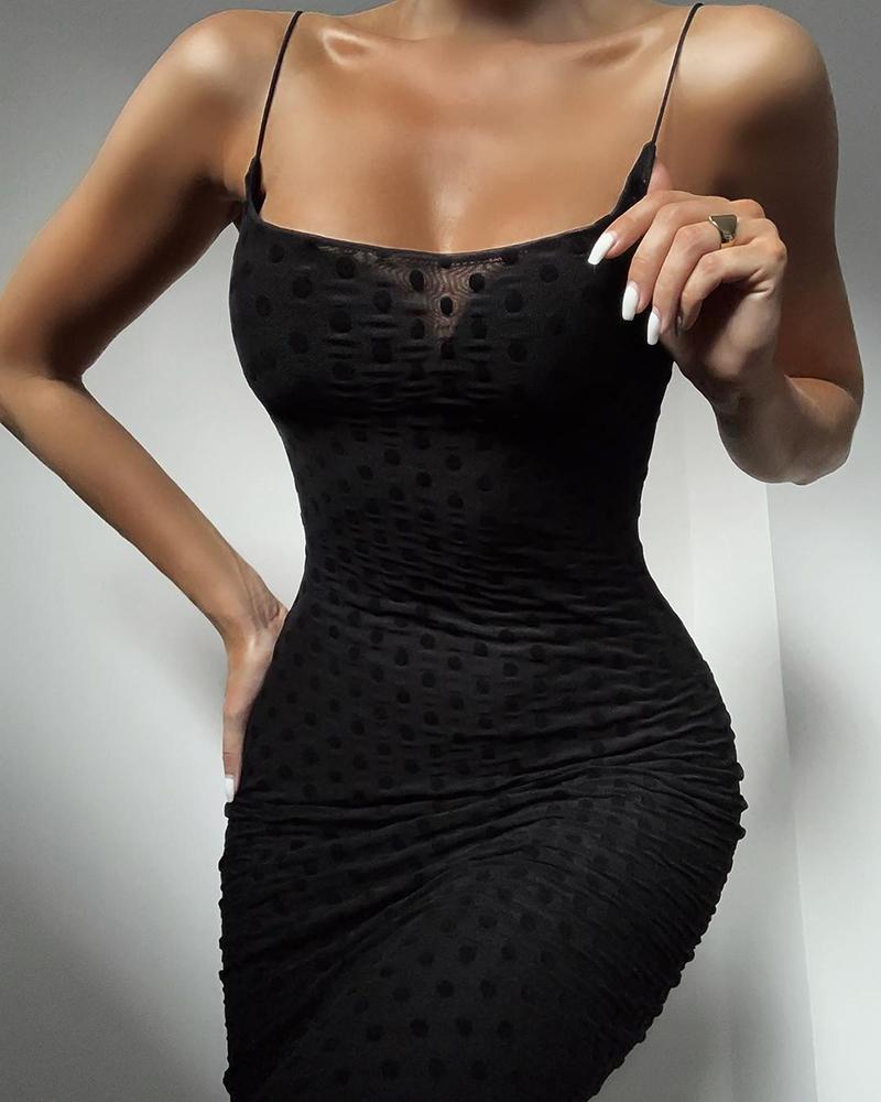 Solid Dot Spaghetti Strap Bodycon Dress фото