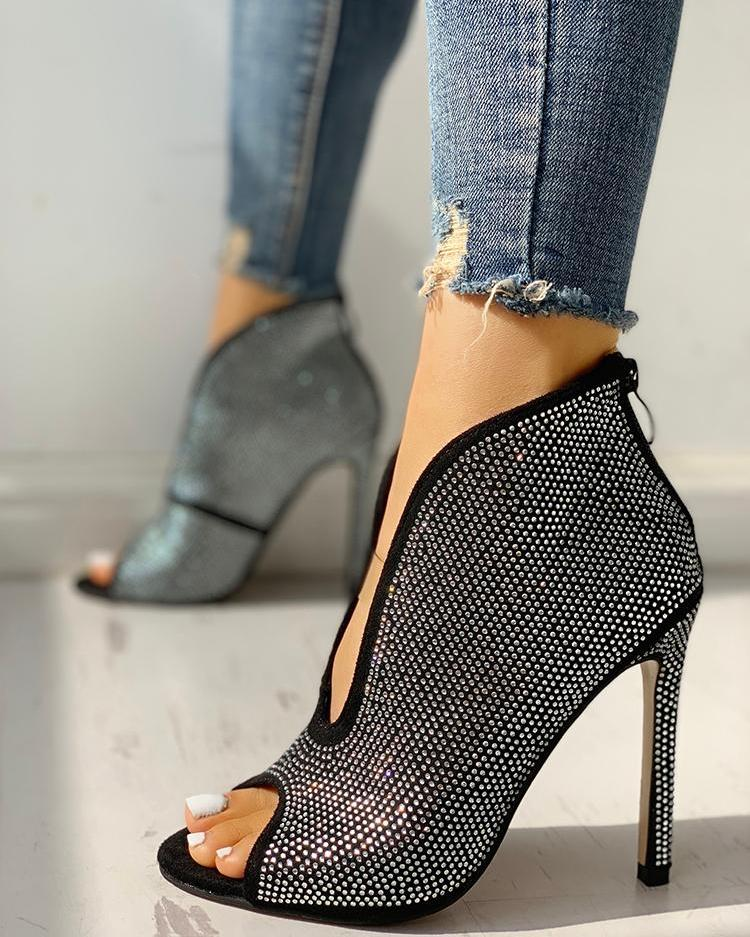 boutiquefeel / Studded Detail Peep Toe Thin Heels