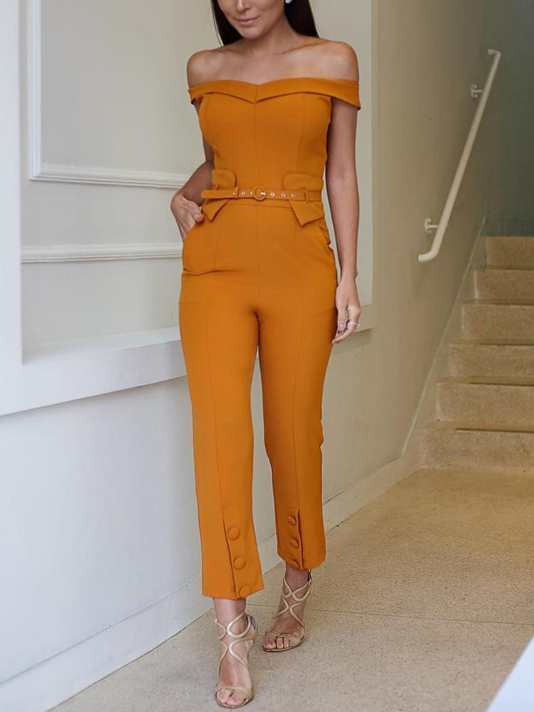 Solid Off Shoulder Belted Pocket Petite Jumpsuit