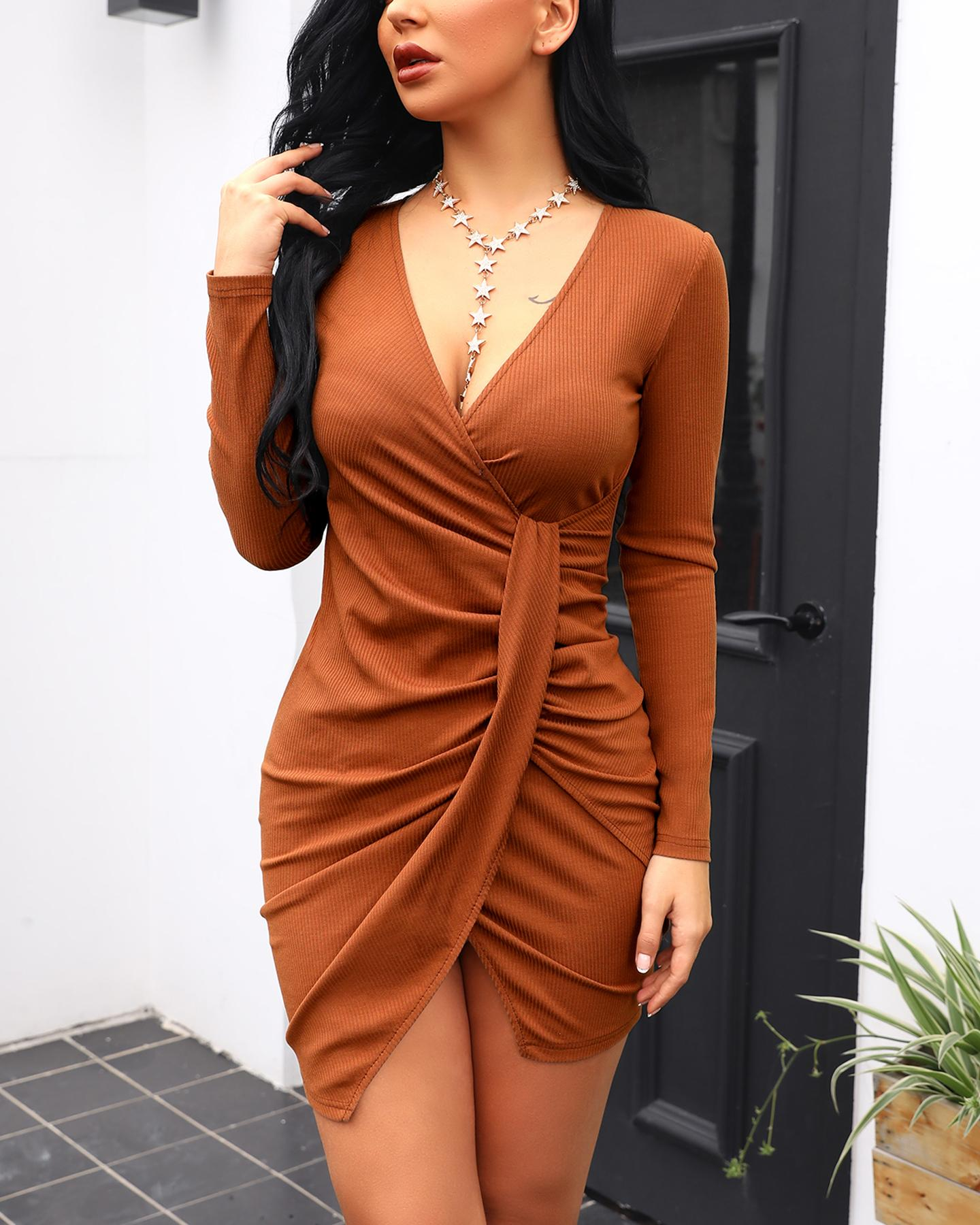 Image of V-Neck Surplice Wrap Ruched Bodycon Dress