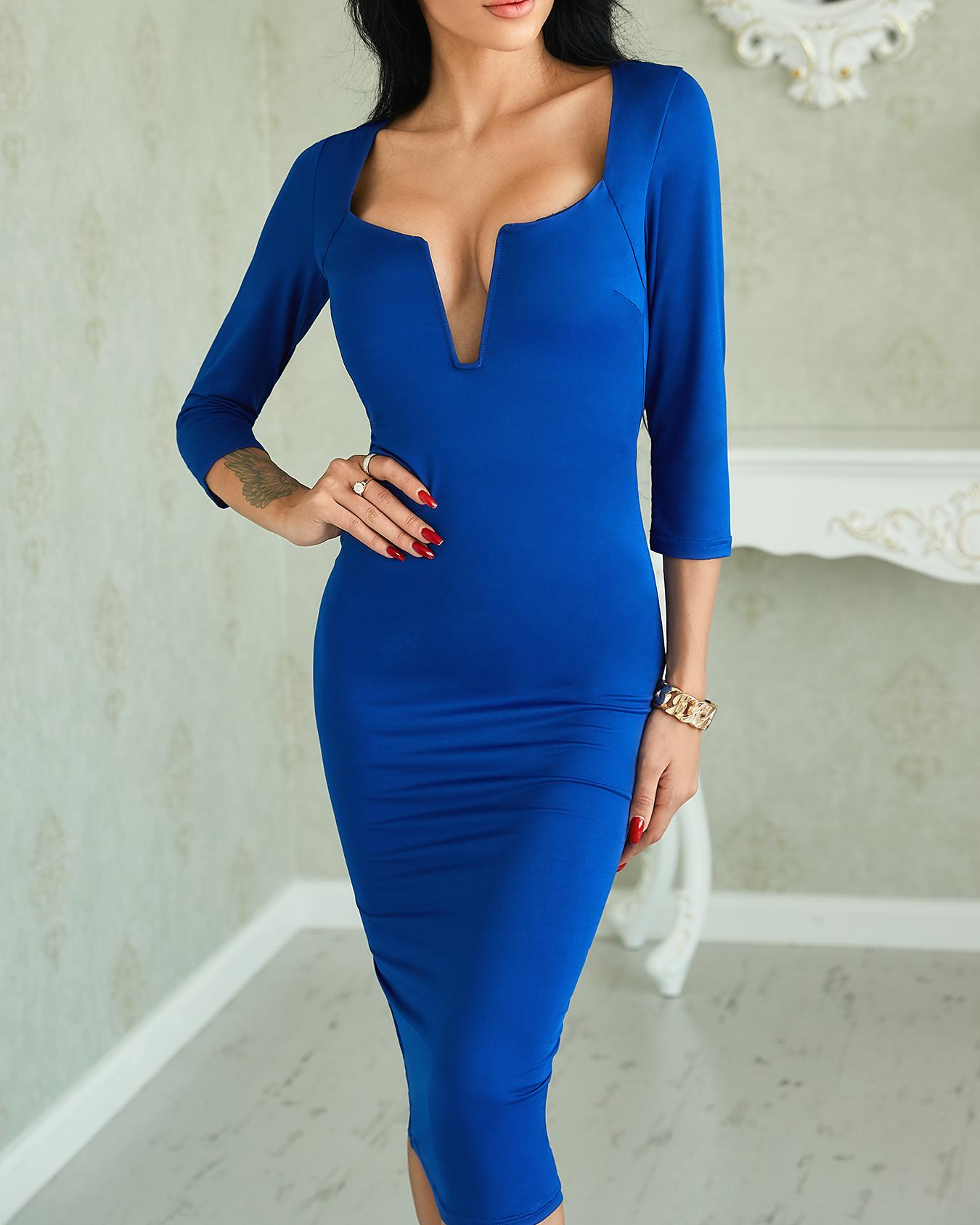 Sexy V Neck Solid Sheath Midi Dress фото
