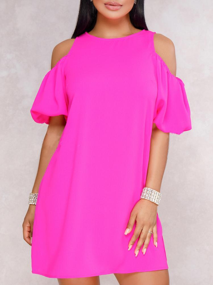 joyshoetique / Solid Batwing Sleeve Cold Shoulder Dress
