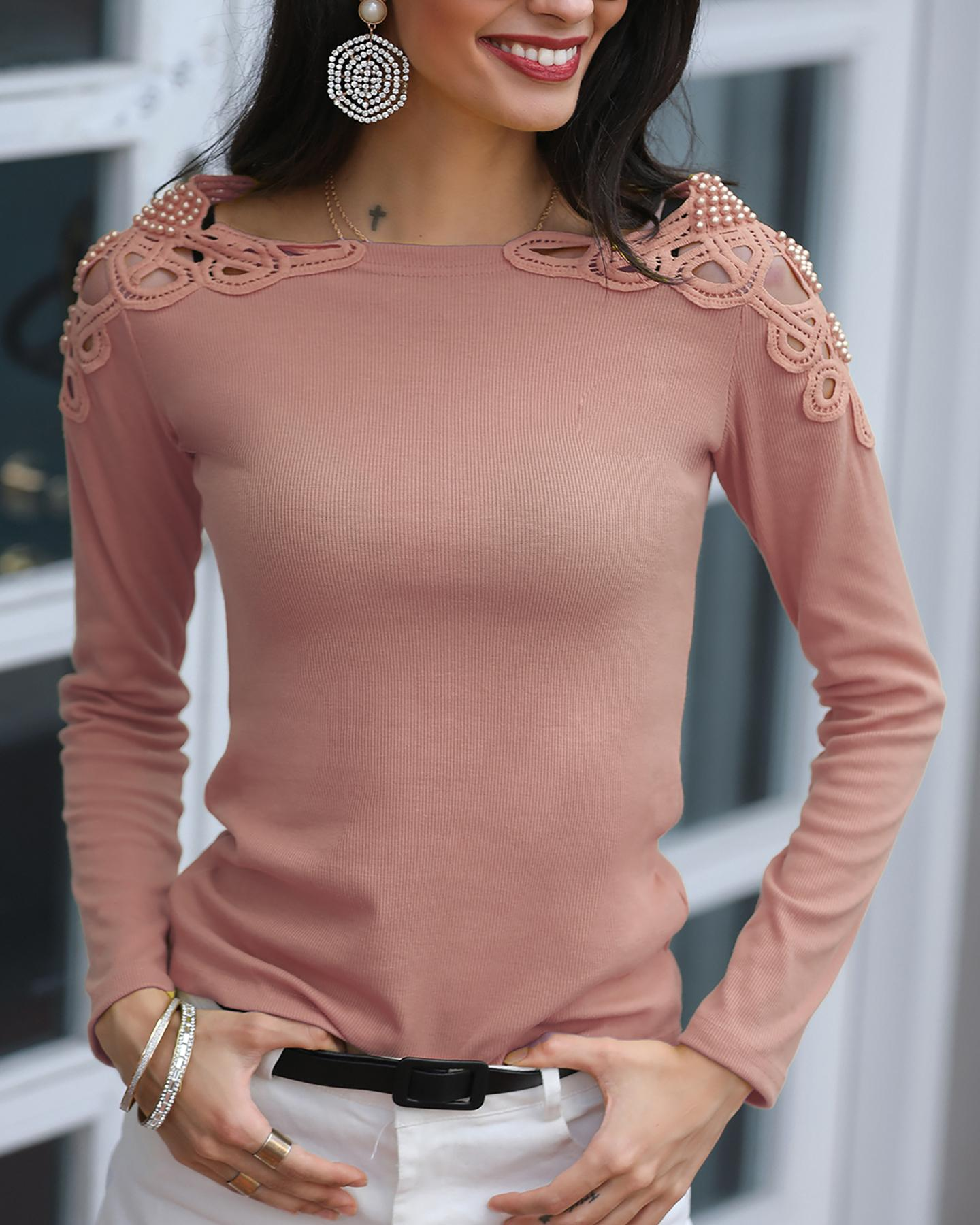 Solid Hollow Out Pearl Beaded Blouse фото