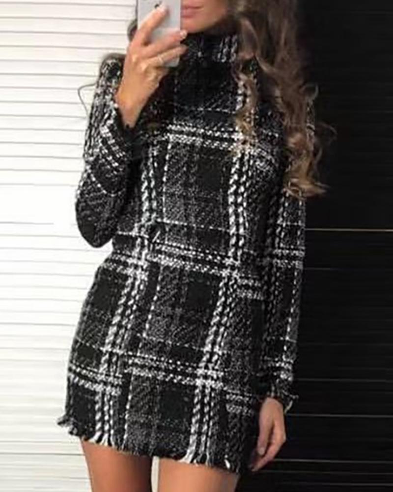 Mock Neck Long Sleeve Plaid Fringed Bodycon Dress фото