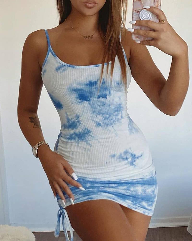 boutiquefeel / Vestido ajustado acanalado con pliegues y estampado tie dye