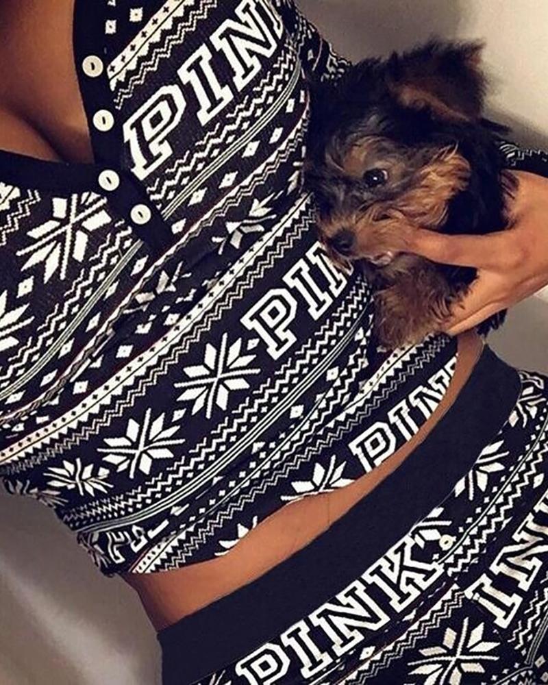 ivrose / Conjunto de pantalón y top con estampado mixto de Navidad