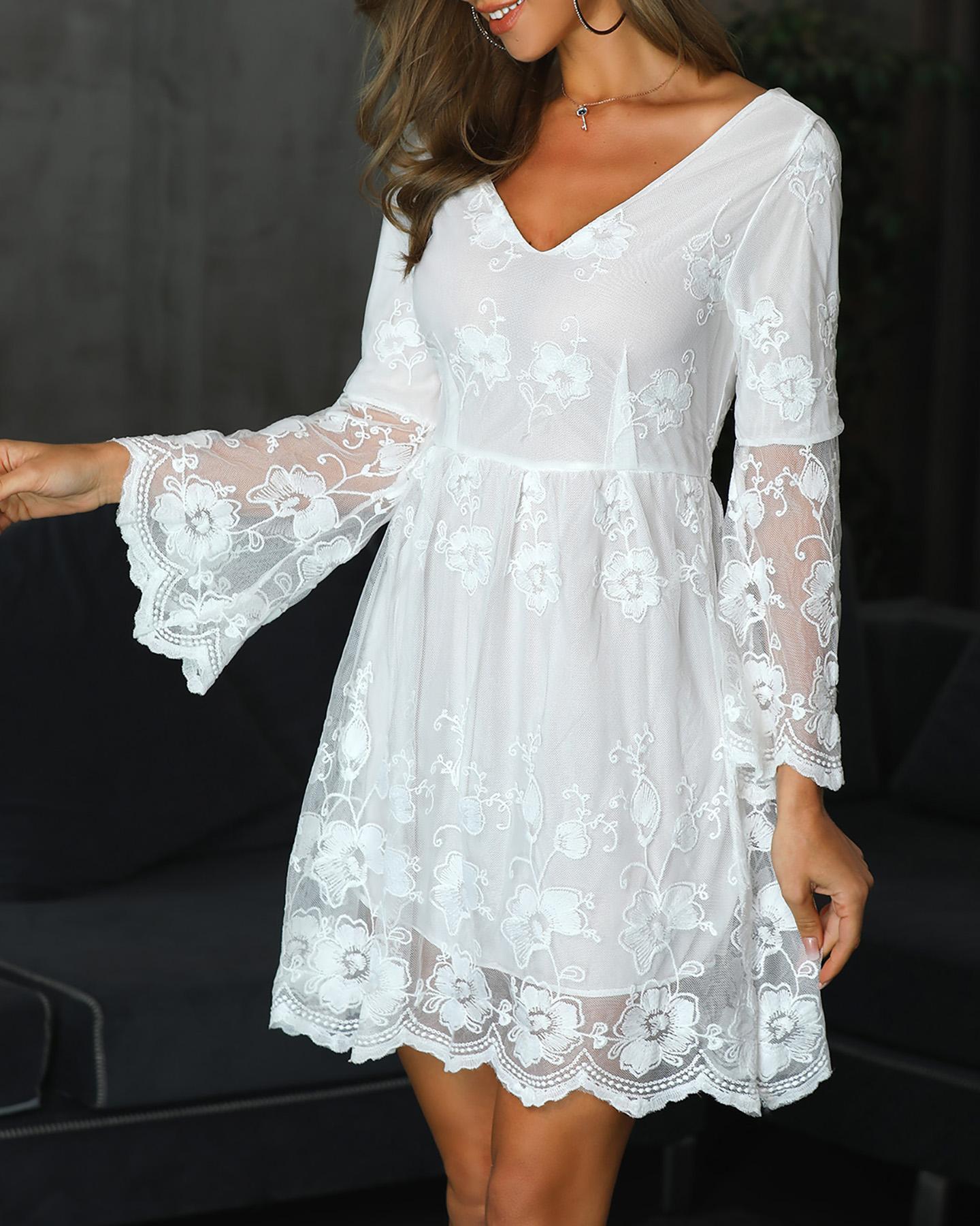 V-Neck Bell Sleeve Lace Dress