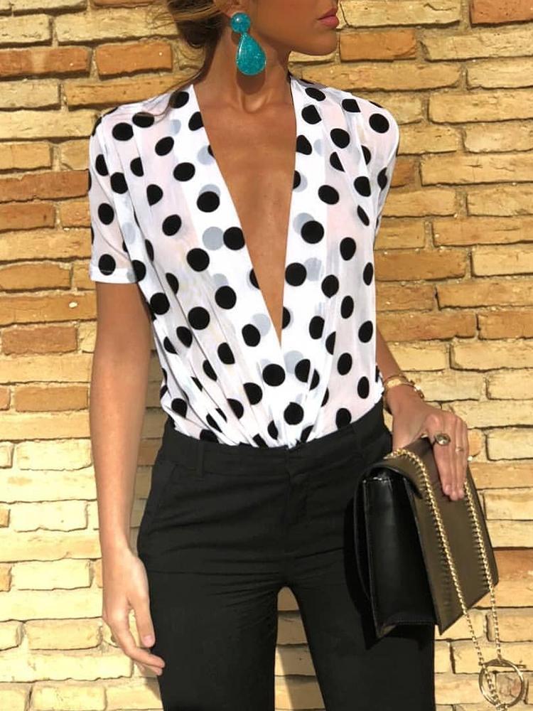 Dots Print Deep V Short Sleeve Bodysuit