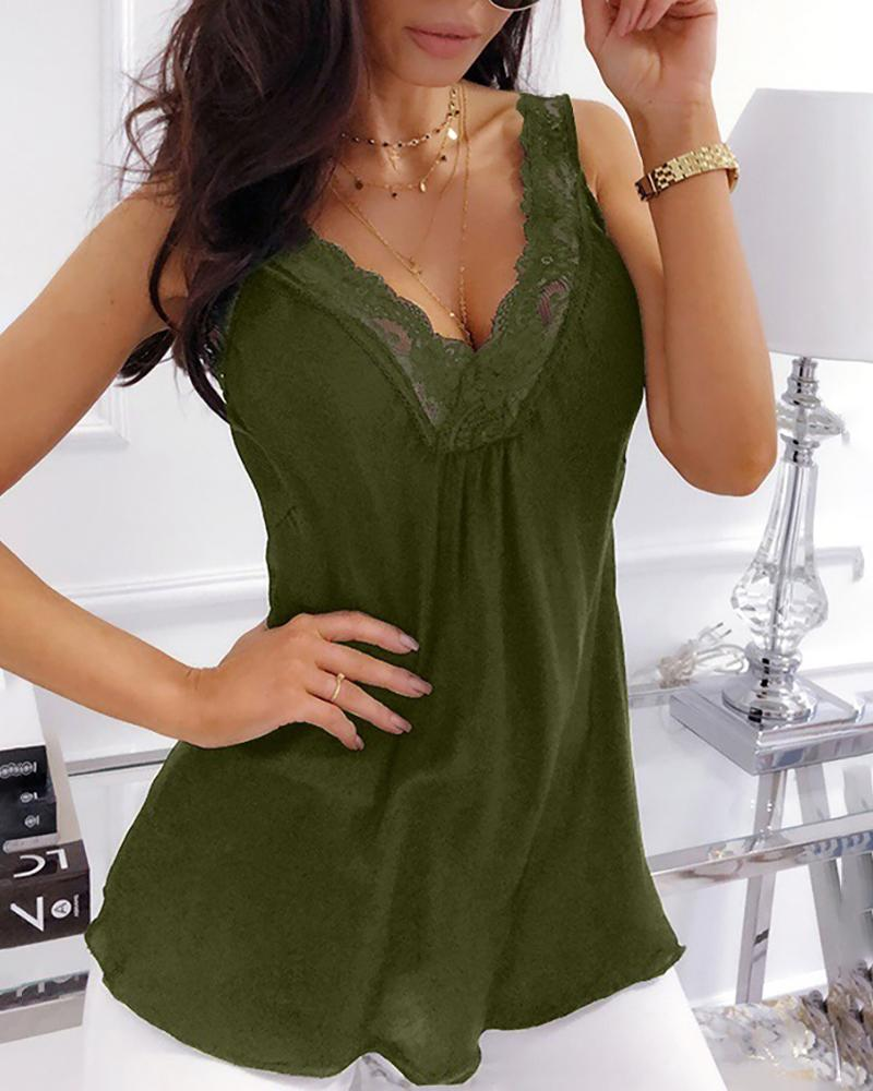 Lace Neck V-neck Vest Tops