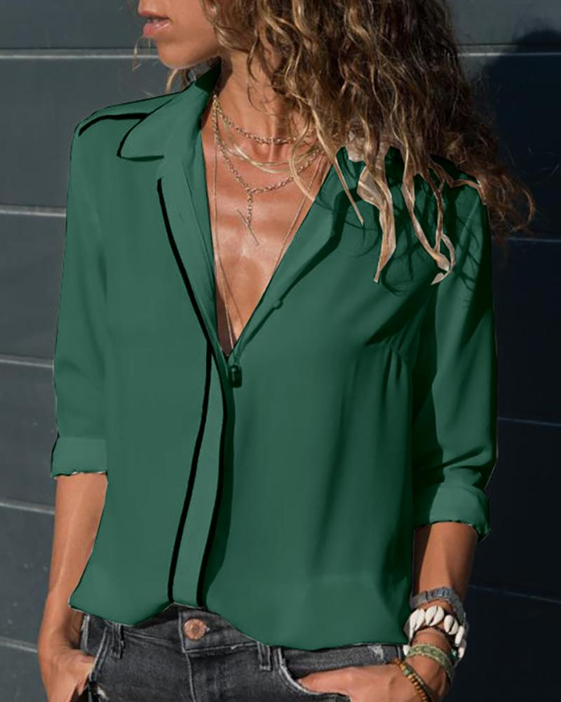 Long Sleeve Buttoned Casual Blouse фото
