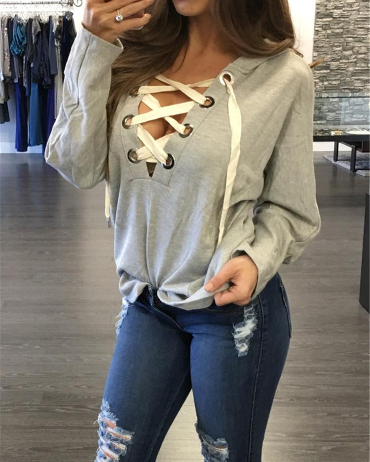 Autumn Lace Cross Sweatshirt Blouse
