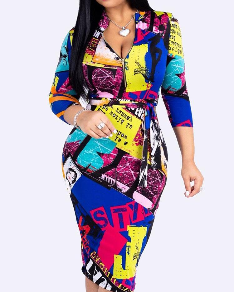 boutiquefeel / Bodyblock com zíper frontal com cinto Bodycon Dress