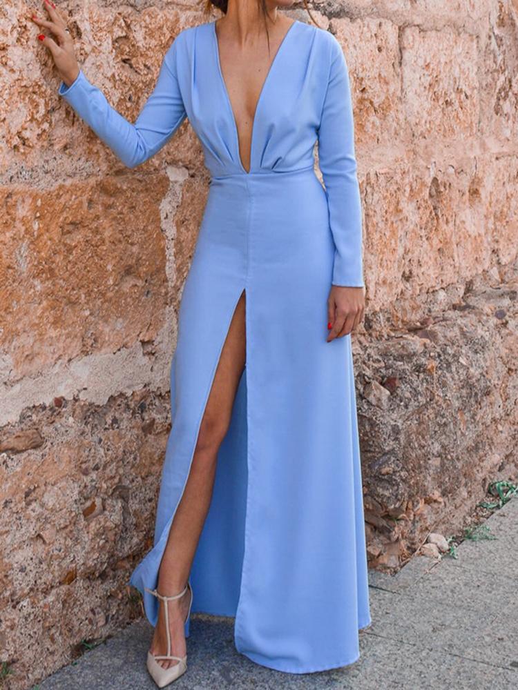 joyshoetique / Solid Plunge Ruched Slit Maxi Dress