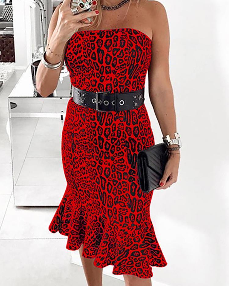 Leopard Print Pep Hem Bodycon Tube Dress