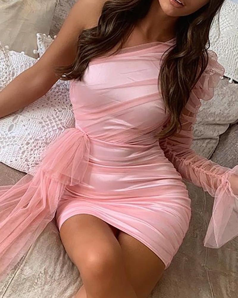 boutiquefeel / One Shoulder Sheer Mesh Insert Ruched Bodycon Dress