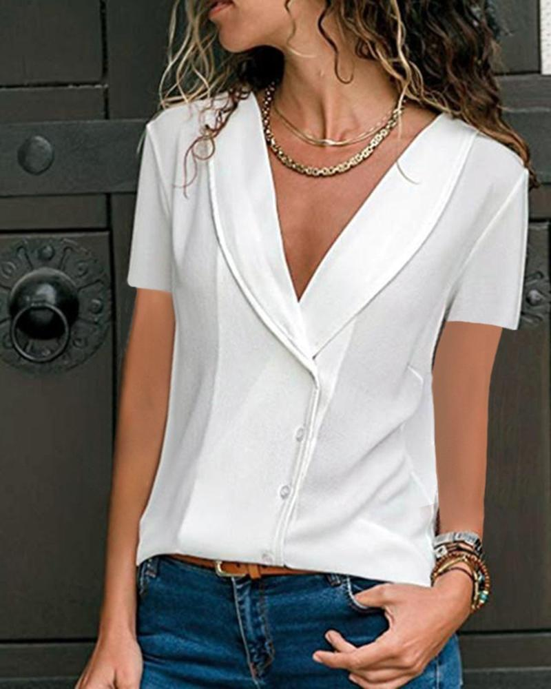 Casual Deep V-Neck Solid Color Fashion Short-Sleeved Top, White