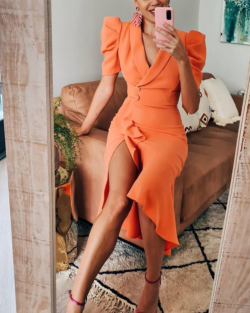 joyshoetique / V-Cut Ruffle Hem Slit Wrap Midi Dress