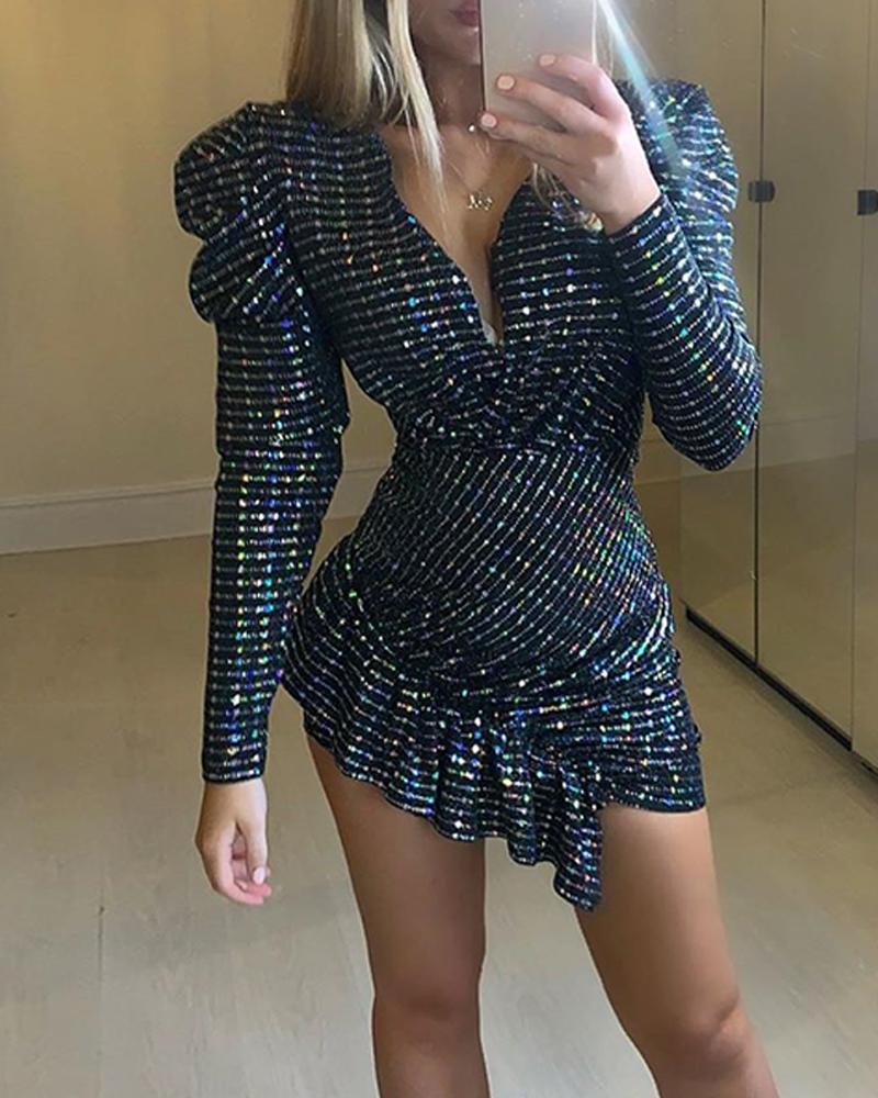 Sexy Deep V Sequin Mini Dress фото