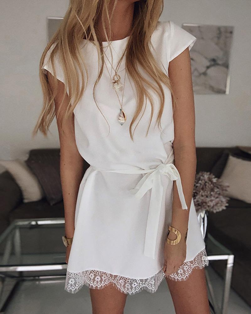 Short Sleeve Eyelash Lace Hem Casual Dress фото