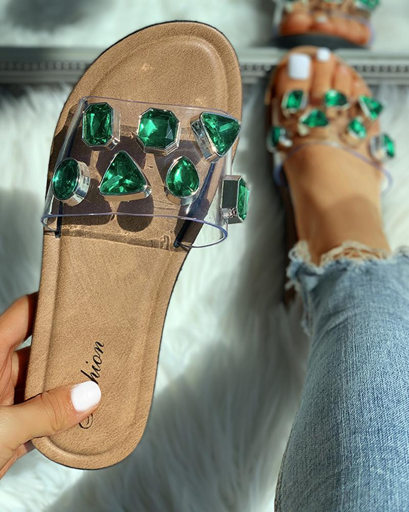 Open Toe Studded Flat Slipper, Green