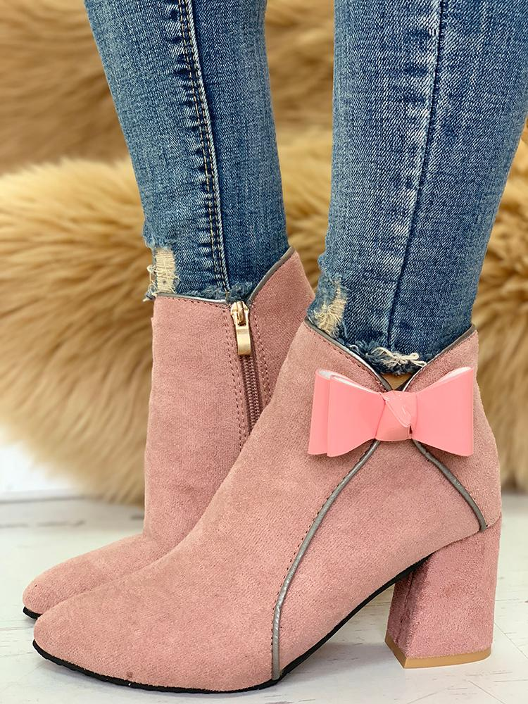 Binding & Bow Detail Ankle Boots