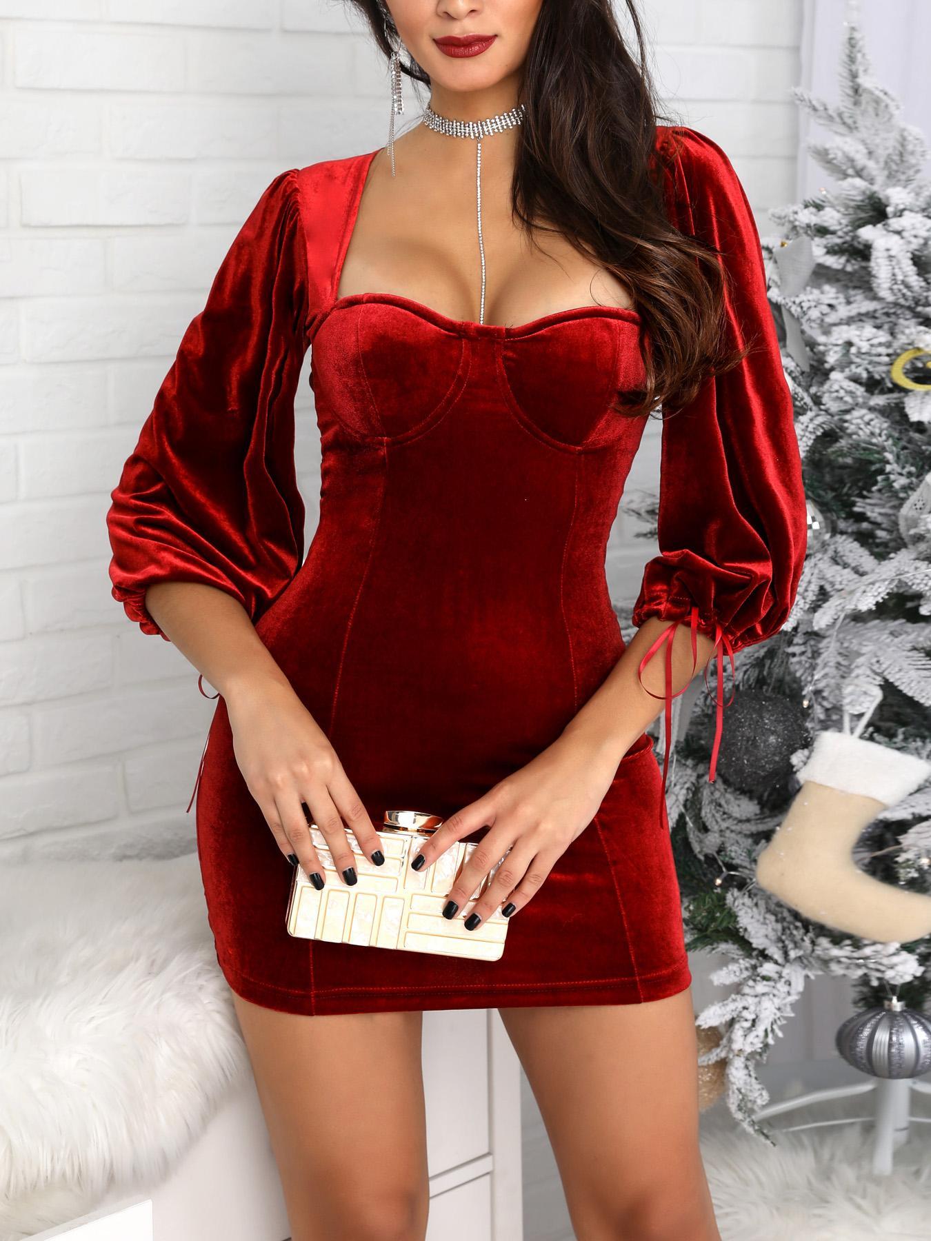 Velvet Lantern Sleeve Backless Party Dress
