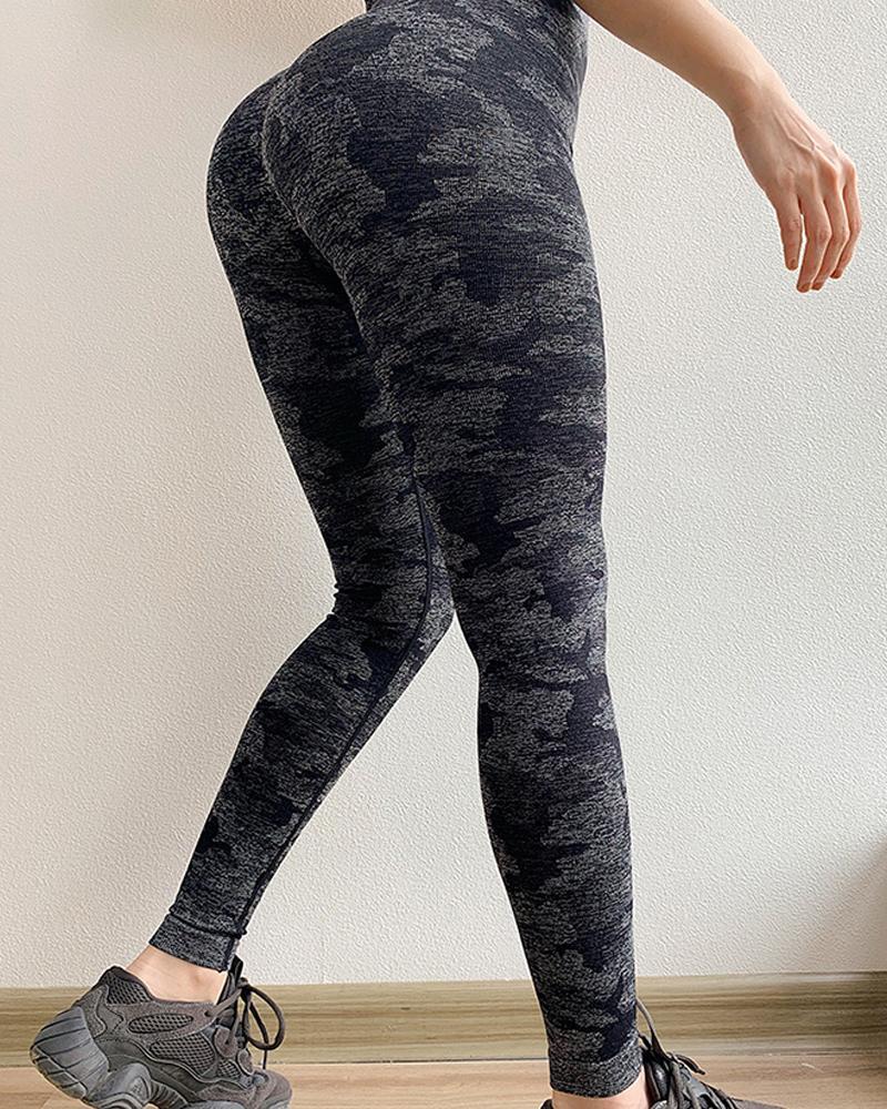 Camouflage Print High Waist Yoga Pants фото
