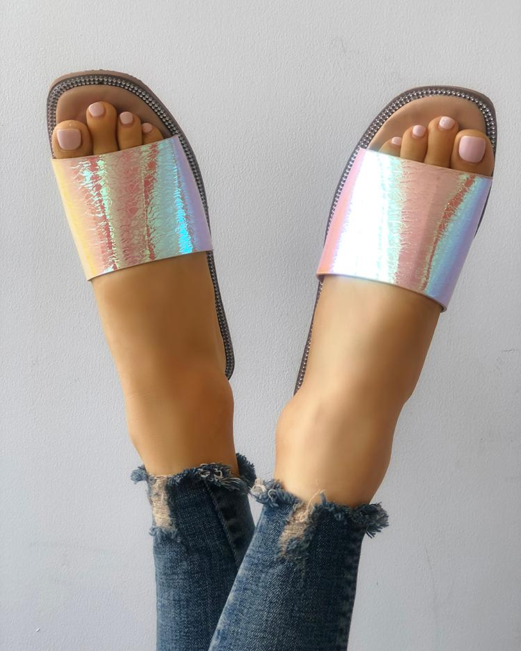 Smooth Shiny Single Strap Open Toe Slippers