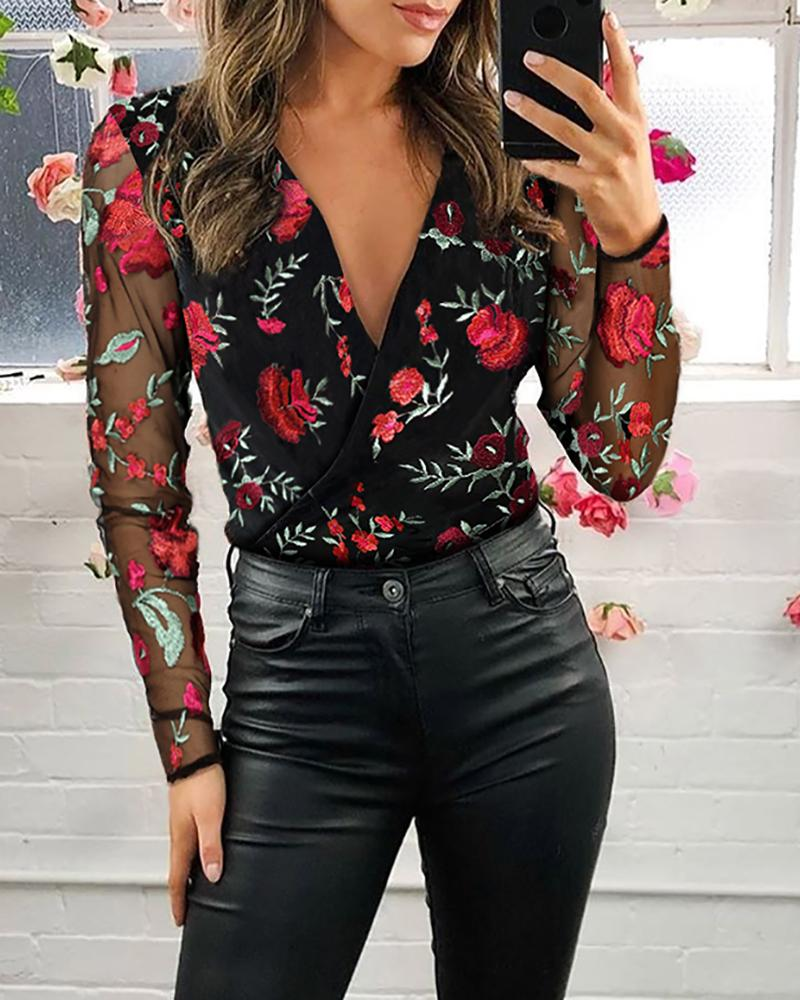 Mesh Floral Embroidery Plunge Blouse фото