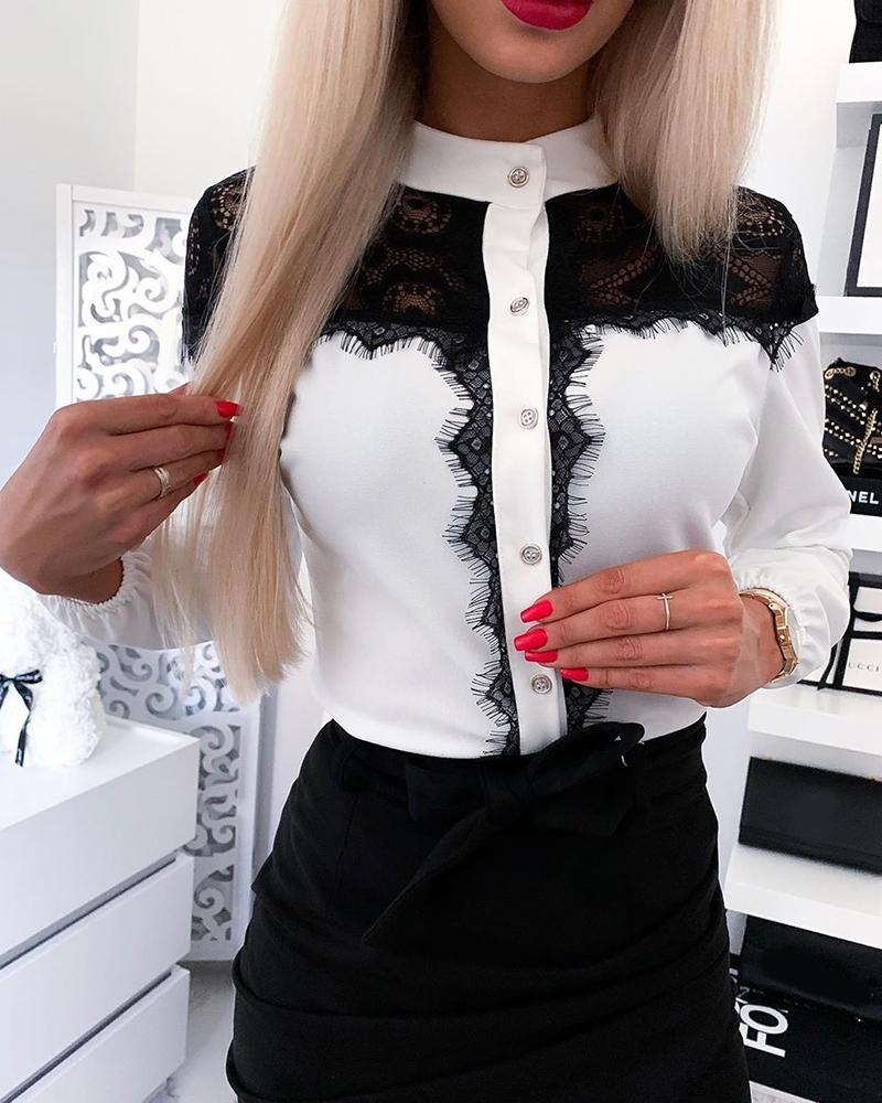 chicme / Stand Collar Button Front Lace Top