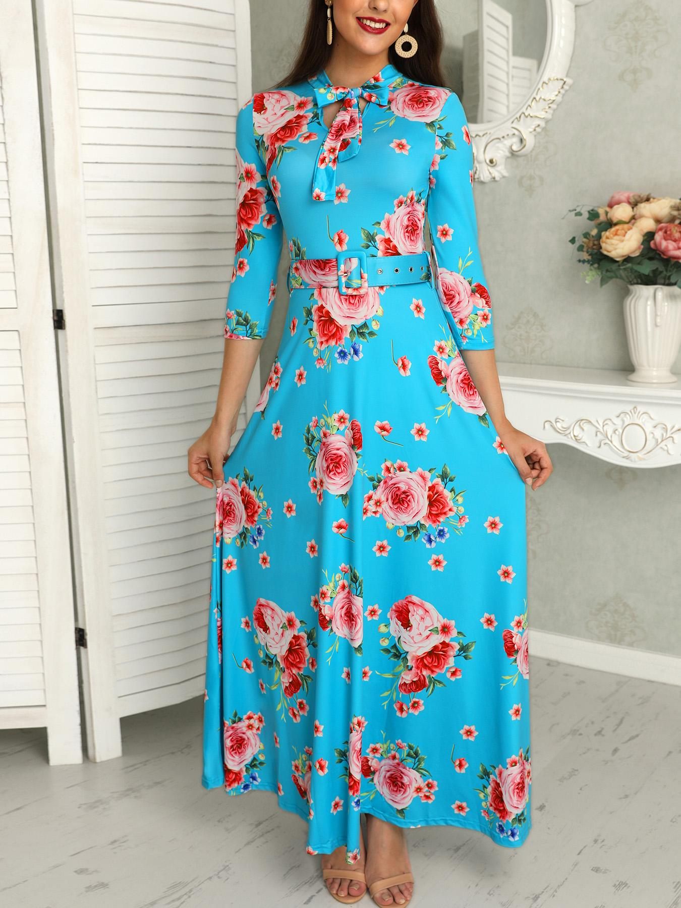Floral Print Tied Neck Belted Maxi Dress