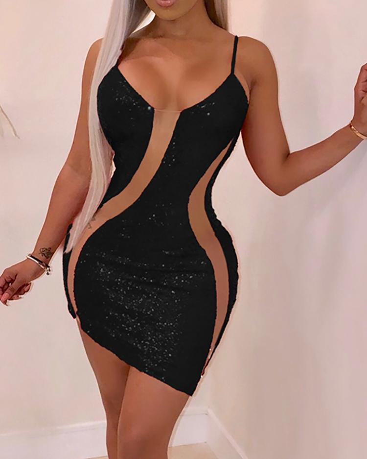 Mesh Splicing Bodycon Cami Sequin Dress