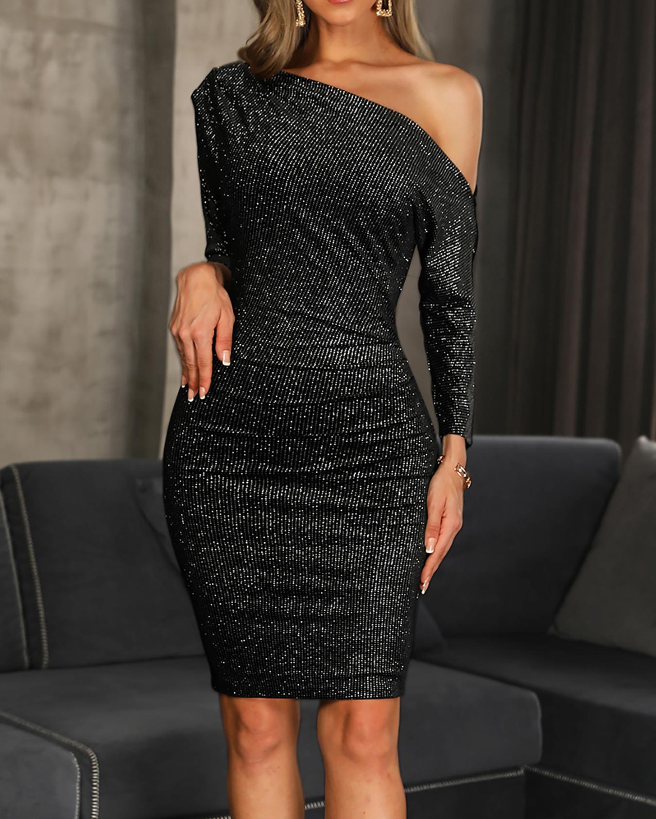 Skew Neck Glitter Dress фото