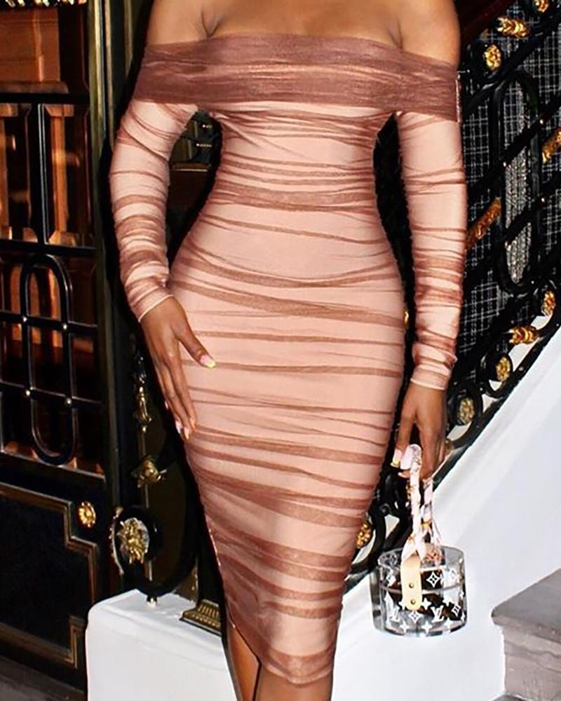 Off Shoulder Ruched Mesh Bodycon Dress фото