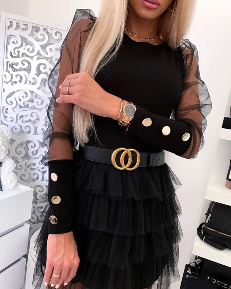 Mesh Sleeve Faux Button Mini Dress фото