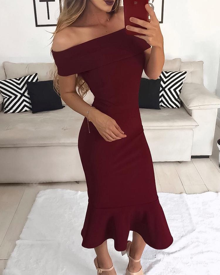 Fold Over Off Shoulder Fishtail Party Dress фото