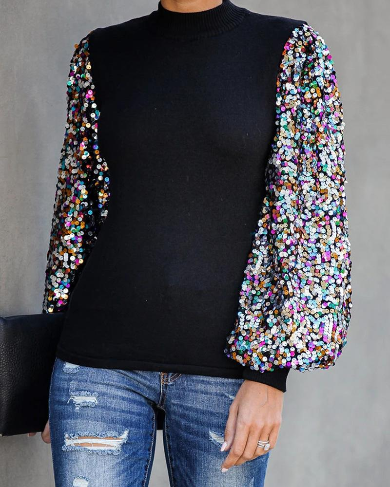 Mock Neck Lantern Sleeve Sequins Colorblock Insert Blouse фото